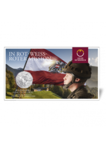 Österreich 2015  5 € Bundesheer - in Rot-Weiss-Roter Mission  Silber Blister