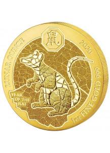 Ruanda 2020    Jahr der Ratte - Maus Lunar-Serie Gold 1 oz