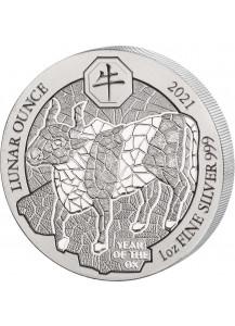 Ruanda 2021    Jahr des Ochsen  Lunar-Serie 1 oz Silber