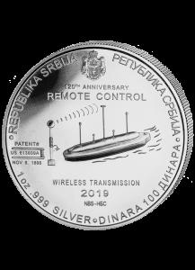 Serbien 2019 Nikola Tesla - Fernbedienung Silber 1 oz