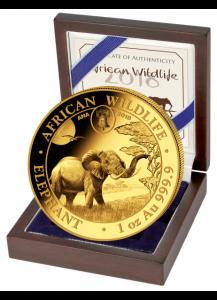 Somalia 2018   Elefant Privy  ANA  Gold 1 oz  Auflage 100 Stück