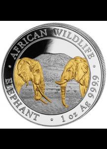 Somalia 2020   Elefant 1 oz Silber vergoldet