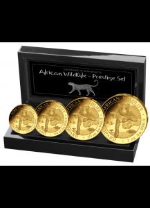 Somalia 2020  Leopard PRESTIGE - Satz Gold 4 Werte polierte Platte