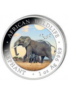 Somalia 2022  Elefant 1 oz Silber FARBE