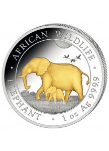 Somalia 2022  Elefant 1 oz Silber VERGOLDET