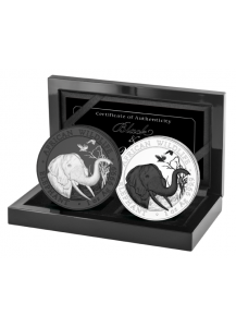 Somalia 2018   Elefant Black & White 2 x 1 oz Silber