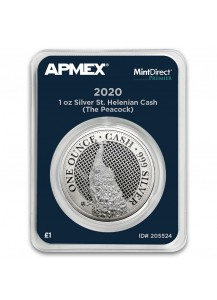 St. Helena 2020  Pfau - Peacock Serie Cash India Wildlife Silber 1 oz  MintDirect Premier