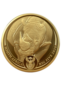 Südafrika 2020  BIG FIVE - NASHORN Gold 1 oz polierte Platte
