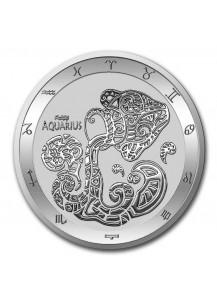 Tokelau 2021 Zodiac - Sternzeichen Wassermann - Aquarius Silber 1 oz