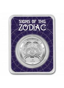 Tokelau 2021 Zodiac - Sternzeichen Cancer - Krebs Silber 1 oz  BLISTER