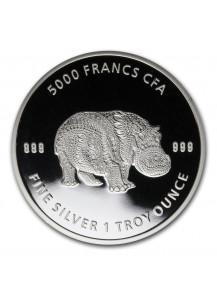 Tschad 2020 Mandala Flusspferd - Hippo Silber 1 oz