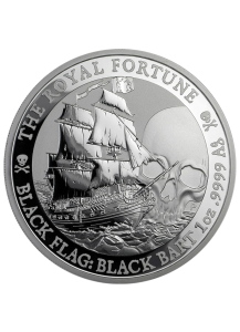 Tuvalu 2020  Black Flag  The Royal Fortune  Piratenschiff Silber 1 oz