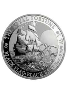 Tuvalu 2020  Black Flag  The Royal Fortune  Piratenschiff Silber 5 oz