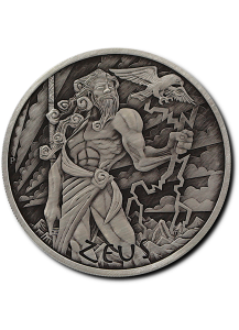 Tuvalu 2020  ZEUS - Gods of Olymp Silber 1 oz  Antik Finish