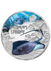Tuvalu 2021 Stachelrochen - Stingray    Serie: Deadly & Dangerous Silber 1 oz - polierte Platte
